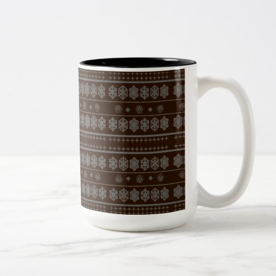 Brown Snowflake Pattern Two-Tone Coffee Mug