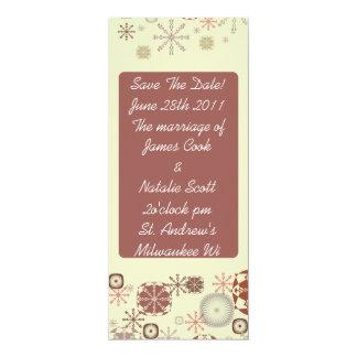"""Brown Snowflake """"Save the Date"""" invite 4"""" X 9.25"""" Invitation Card"""