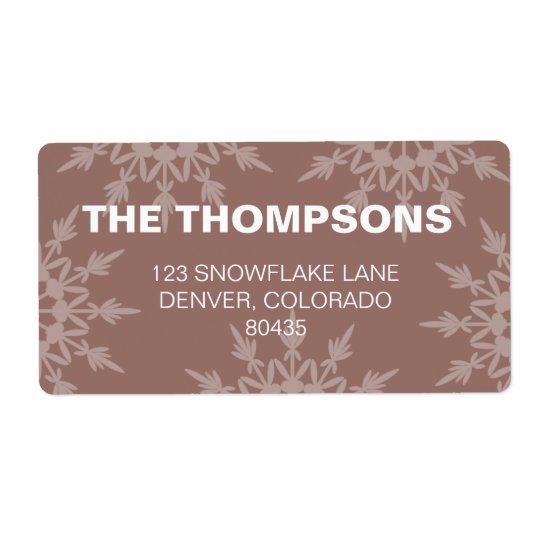 Brown Snowflakes  holiday addresss label