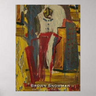 Brown Snowman Poster