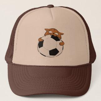 Brown Soccer Cat Trucker Hat