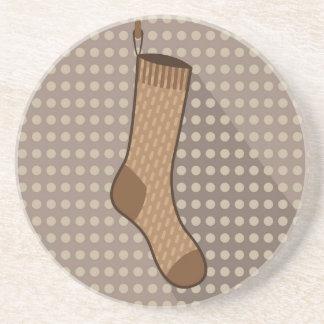 Brown sock hanging drink coaster