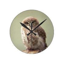 Brown Speckled Owl Round Clock