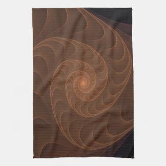Brown Spiral Fractal Hand Towels