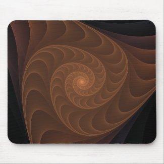 Brown Spiral Fractal Mouse Pad