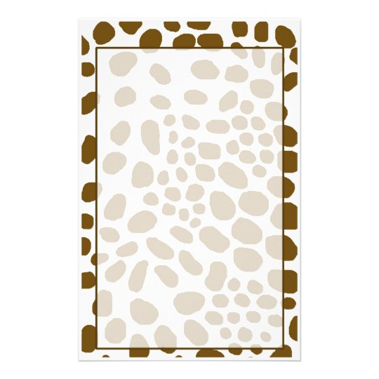 Brown Spot Animal Print Stationary With Spots Stationery