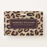 Brown spots leopard pattern faux fur texture badge