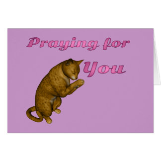 Brown Spotted Cat Praying Card