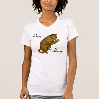 Brown Spotted Cat Praying Shirts