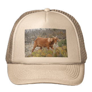 Brown spotted goat trucker hat