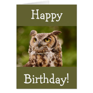 Brown spotted owl birthday greeting card