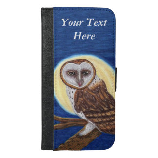 Brown spotted Owl Haunting Stare Yellow Moon iPhone 6/6s Plus Wallet Case