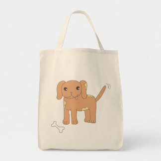 Brown Spotted Puppy Dog Canvas Bags