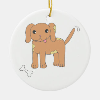 Brown Spotted Puppy Dog Ceramic Ornament