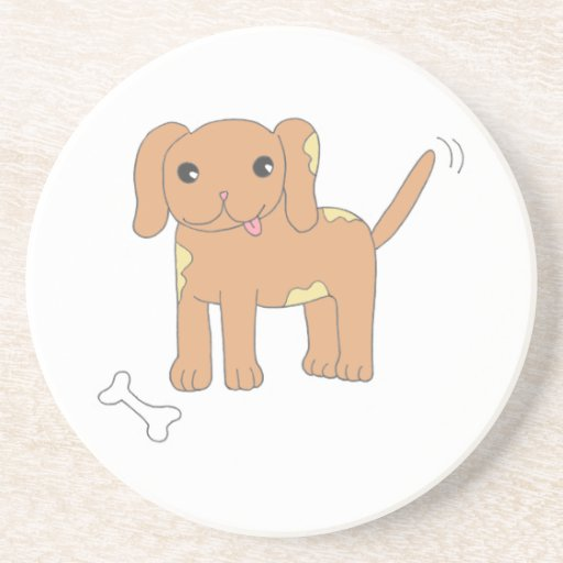 Brown Spotted Puppy Dog Drink Coaster