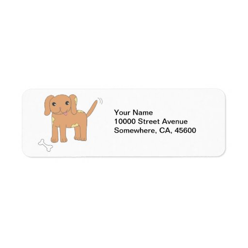 Brown Spotted Puppy Dog Label