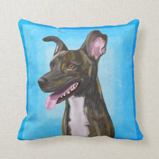 Brown Spotted Shepherd Dog with Big Ears Pillow