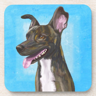 Brown Spotted Shepherd with Big Ears Drink Coaster