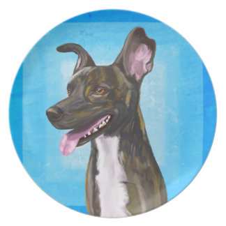 Brown Spotted Shepherd with Big Ears Melamine Plate