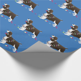 Brown Springer Spaniel Christmas Illustration Wrapping Paper