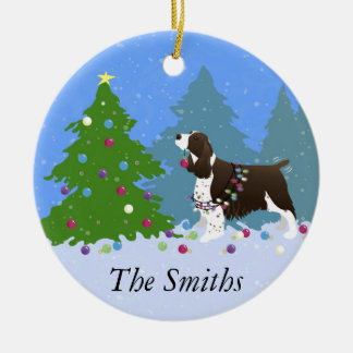 Brown Springer Spaniel Decorating Christmas Tree Double-Sided Ceramic Round Christmas Ornament