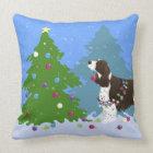 Brown Springer Spaniel Decorating Christmas Tree Throw Pillow