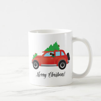 Brown Springer Spaniel Dog - Car with Tree on Top Coffee Mug