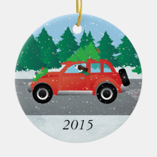 Brown Springer Spaniel Dog - Car with Tree on Top Double-Sided Ceramic Round Christmas Ornament