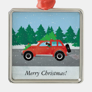 Brown Springer Spaniel Dog - Car with Tree on Top Square Metal Christmas Ornament