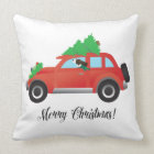 Brown Springer Spaniel Dog - Car with Tree on Top Throw Pillow