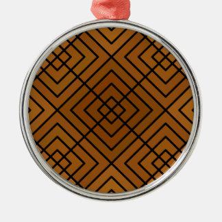 Brown Square Affair Metal Ornament