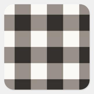 Brown Square Check Square Sticker