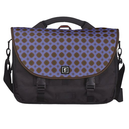 Brown square retro pattern on blue commuter bag
