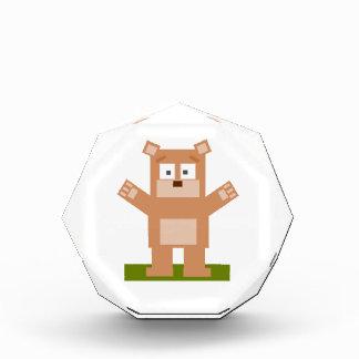 Brown Square Shaped Cartoon Bear Standing Up Acrylic Award