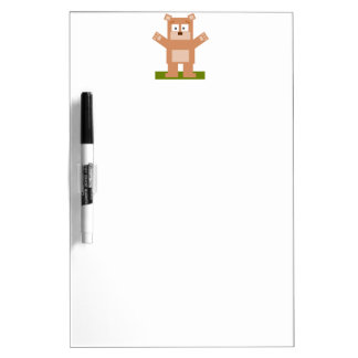 Brown Square Shaped Cartoon Bear Standing Up Dry-Erase Boards