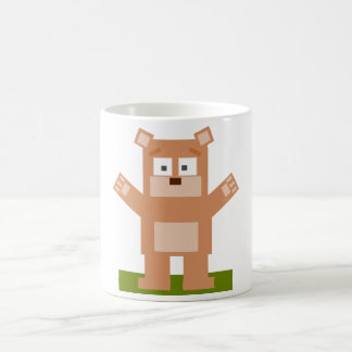 Brown Square Shaped Cartoon Bear Standing Up Mugs