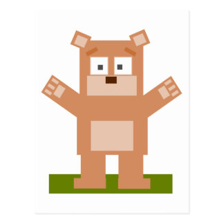 Brown Square Shaped Cartoon Bear Standing Up Postcard