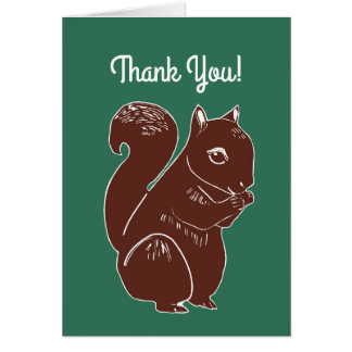 Brown Squirrel Forest Green Thank You Card