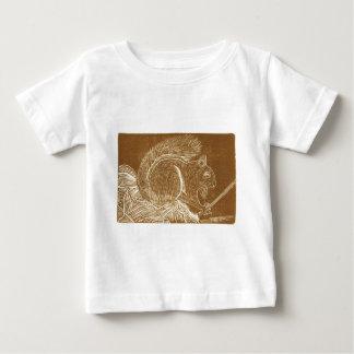 Brown Squirrel Linocut Baby T-Shirt