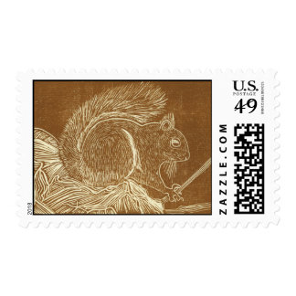 Brown Squirrel Linocut Stamps