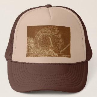 Brown Squirrel Linocut Trucker Hat