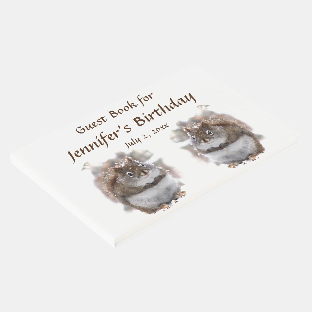 Brown Squirrels Animal Birthday Party Guest Book
