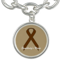 Brown Standard Ribbon by Kenneth Yoncich Charm Bracelet