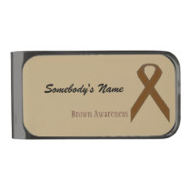 Brown Standard Ribbon by Kenneth Yoncich Gunmetal Finish Money Clip