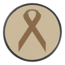 Brown Standard Ribbon by Kenneth Yoncich Hockey Puck