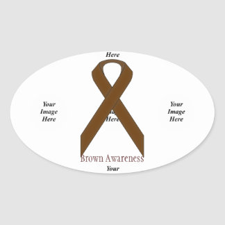 Brown Standard Ribbon by Kenneth Yoncich Oval Sticker