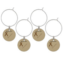 Brown Standard Ribbon by Kenneth Yoncich Wine Glass Charm