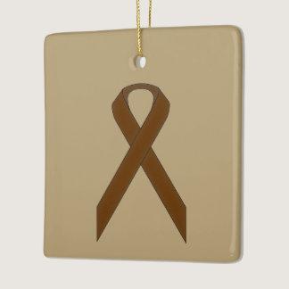 Brown Standard Ribbon Ceramic Ornament