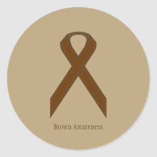 Brown Standard Ribbon Classic Round Sticker