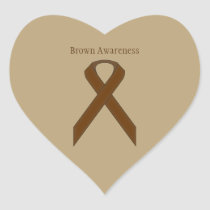 Brown Standard Ribbon Heart Sticker